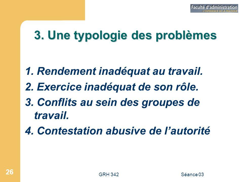 3. Une typologie des problèmes