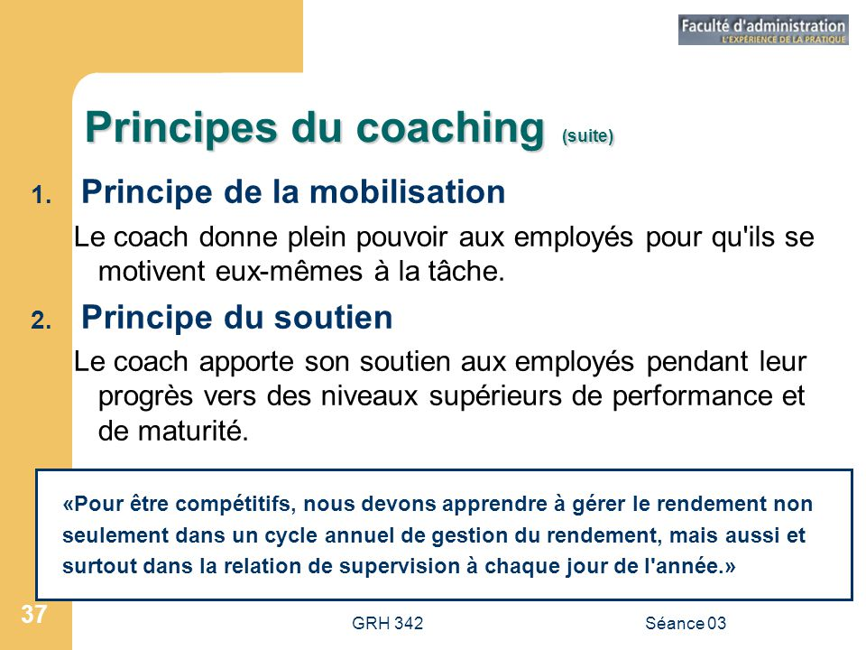 Principes du coaching (suite)