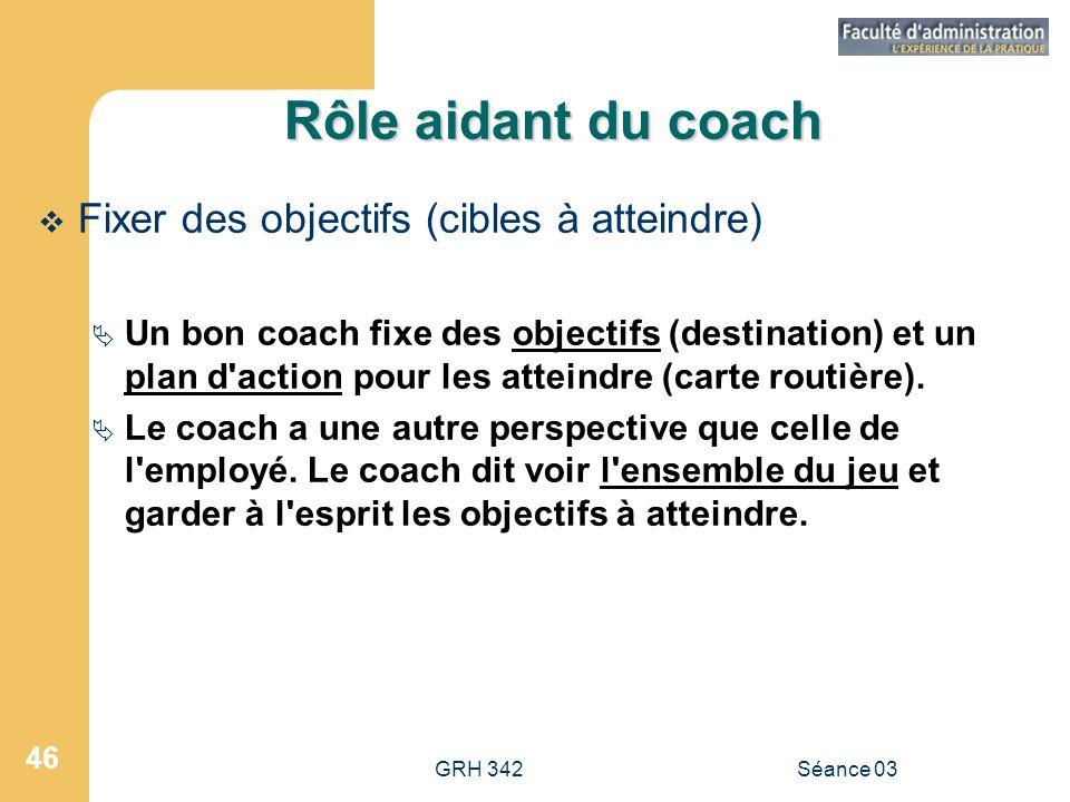 Rôle aidant du coach Fixer des objectifs (cibles à atteindre)