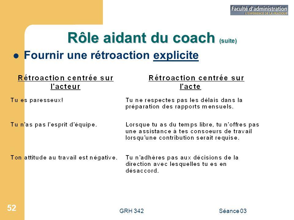 Rôle aidant du coach (suite)