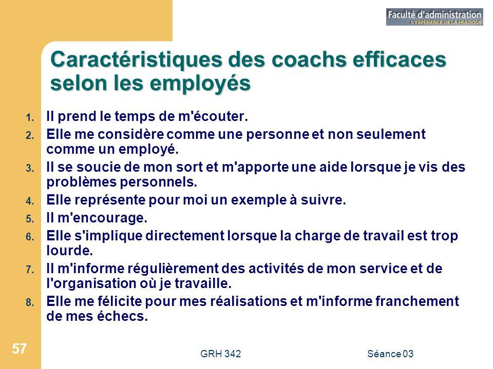 Caractéristiques des coachs efficaces selon les employés