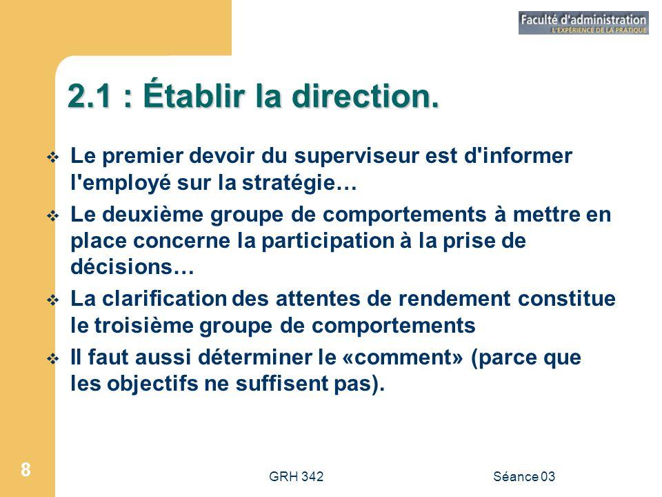 2.1 : Établir la direction. Le premier devoir du superviseur est d informer l employé sur la stratégie…