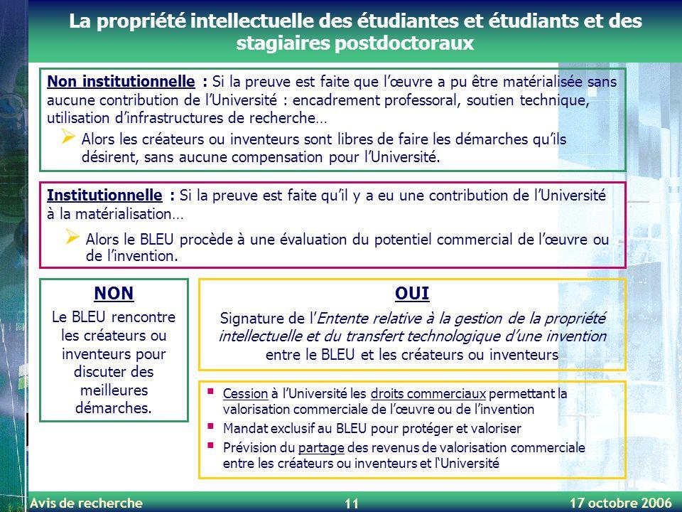 La propriété intellectuelle des étudiantes et étudiants et des stagiaires postdoctoraux