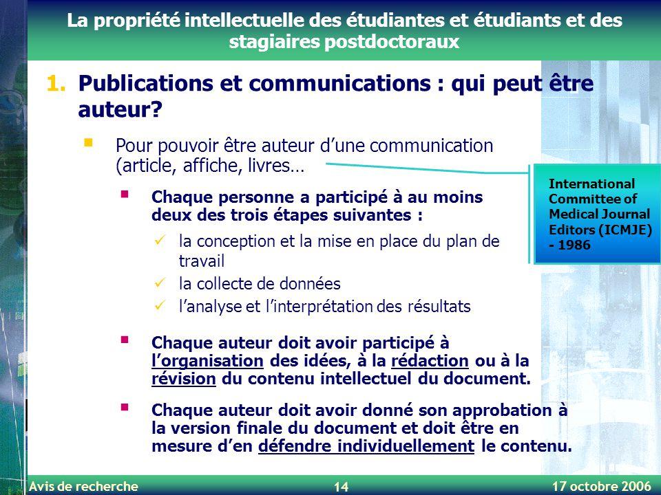 Publications et communications : qui peut être auteur