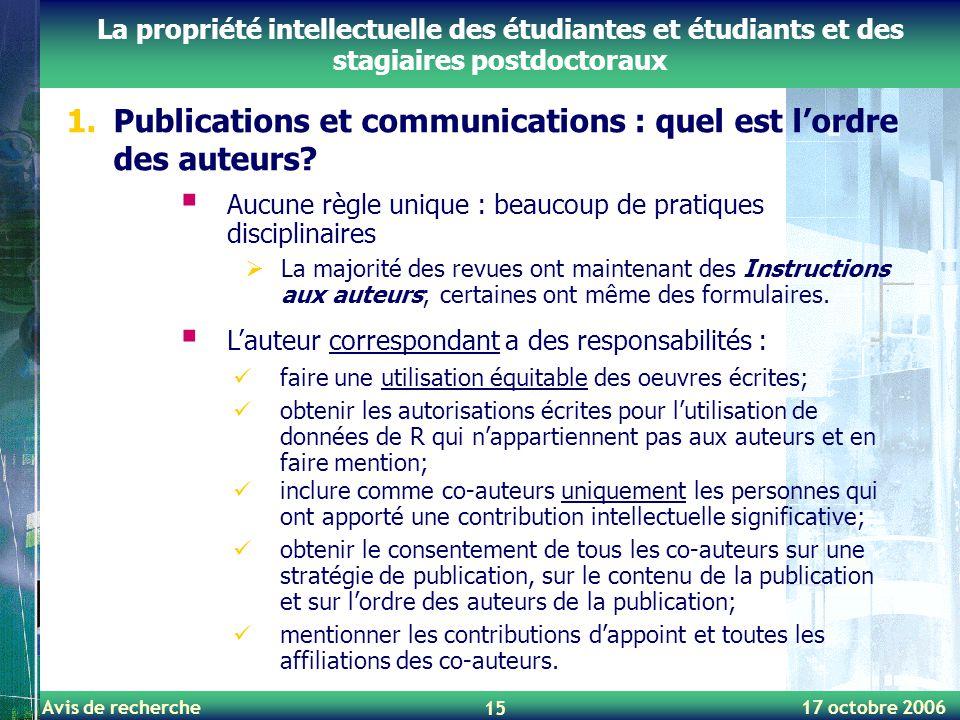 Publications et communications : quel est l'ordre des auteurs