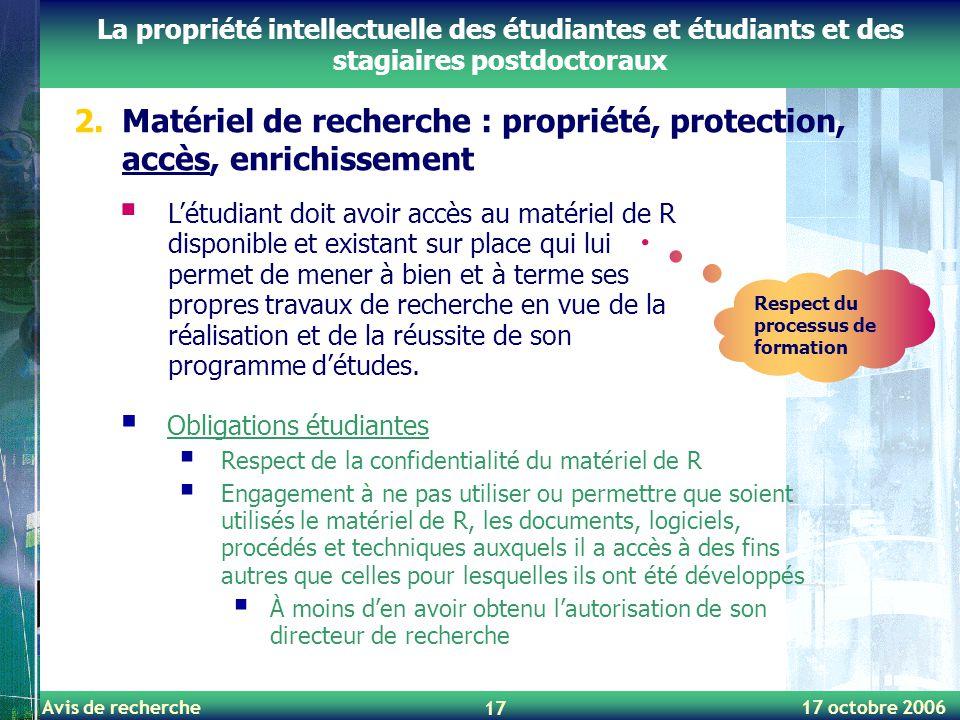 Matériel de recherche : propriété, protection, accès, enrichissement