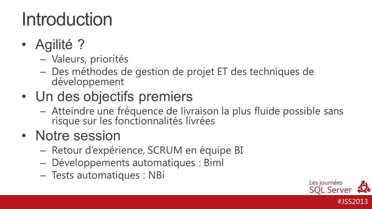 Introduction Agilité Un des objectifs premiers Notre session