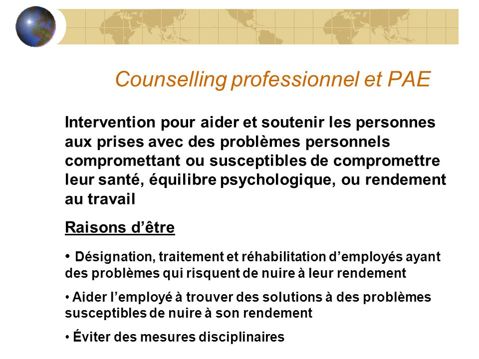 Counselling professionnel et PAE