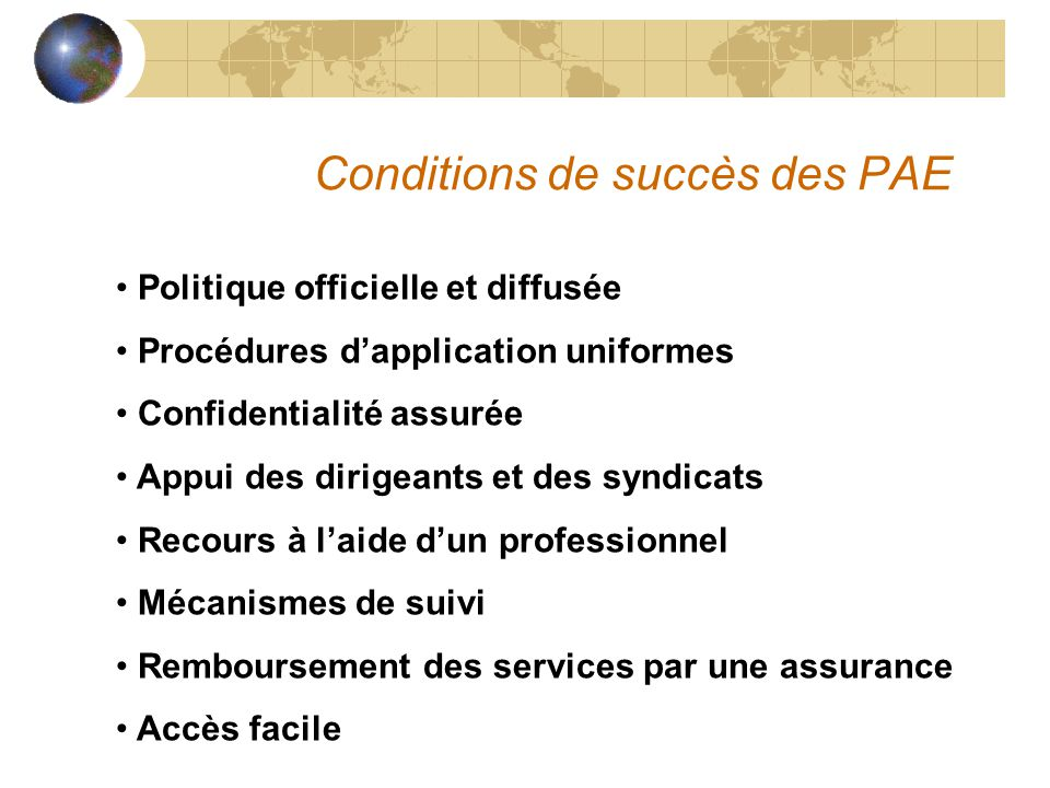 Conditions de succès des PAE