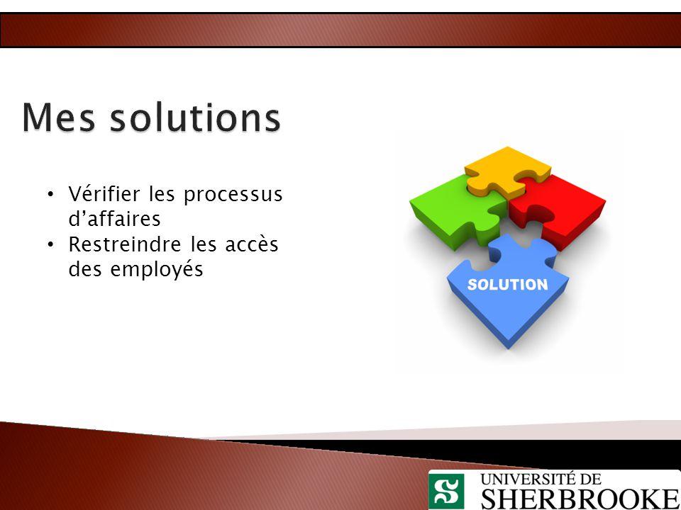 Mes solutions Vérifier les processus d'affaires