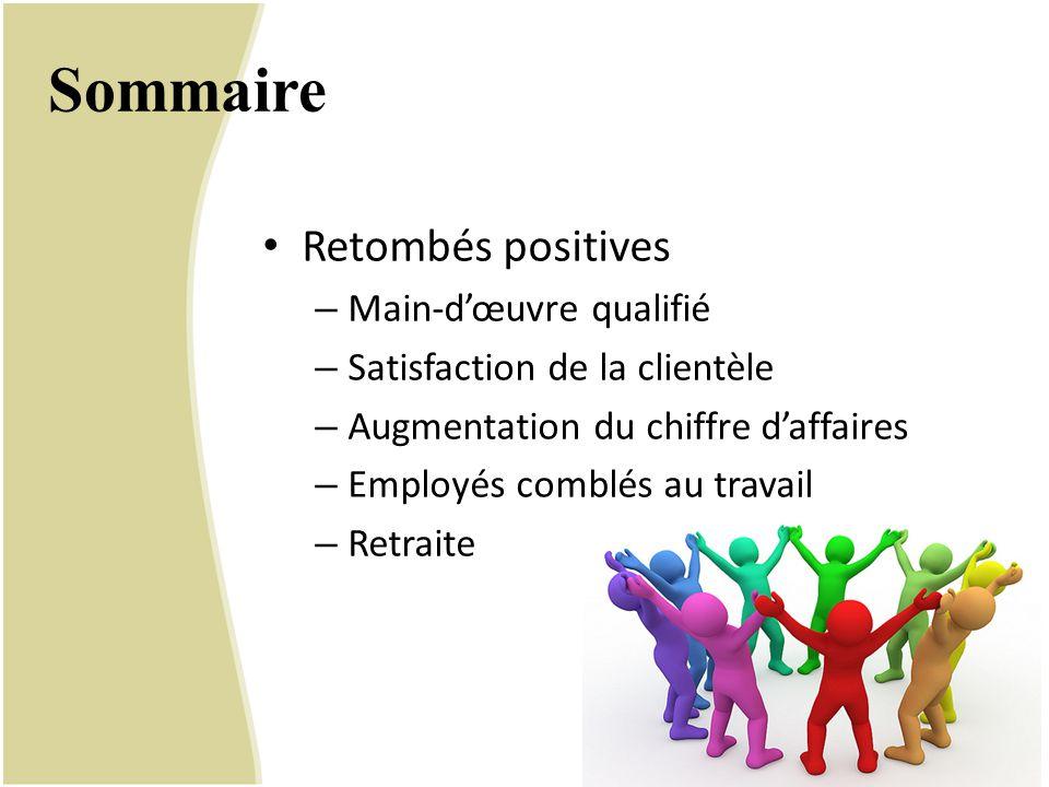 Sommaire Retombés positives Main-d'œuvre qualifié