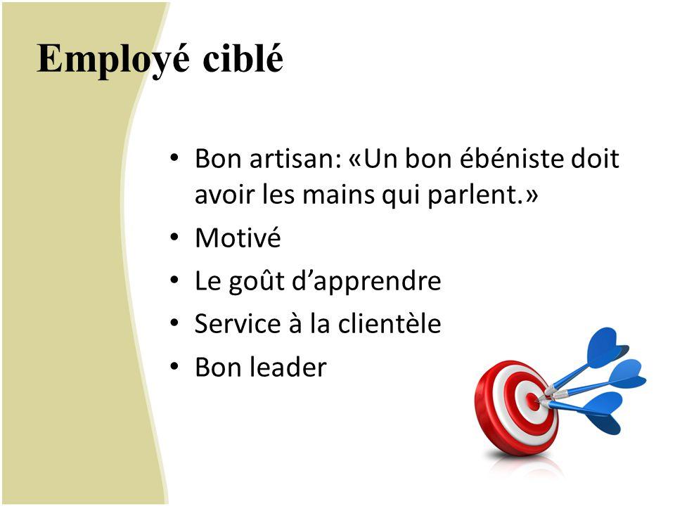 Employé ciblé Bon artisan: «Un bon ébéniste doit avoir les mains qui parlent.» Motivé. Le goût d'apprendre.
