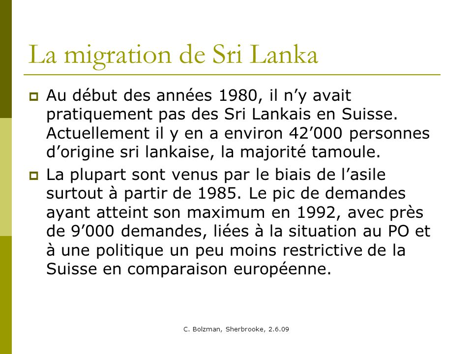 La migration de Sri Lanka