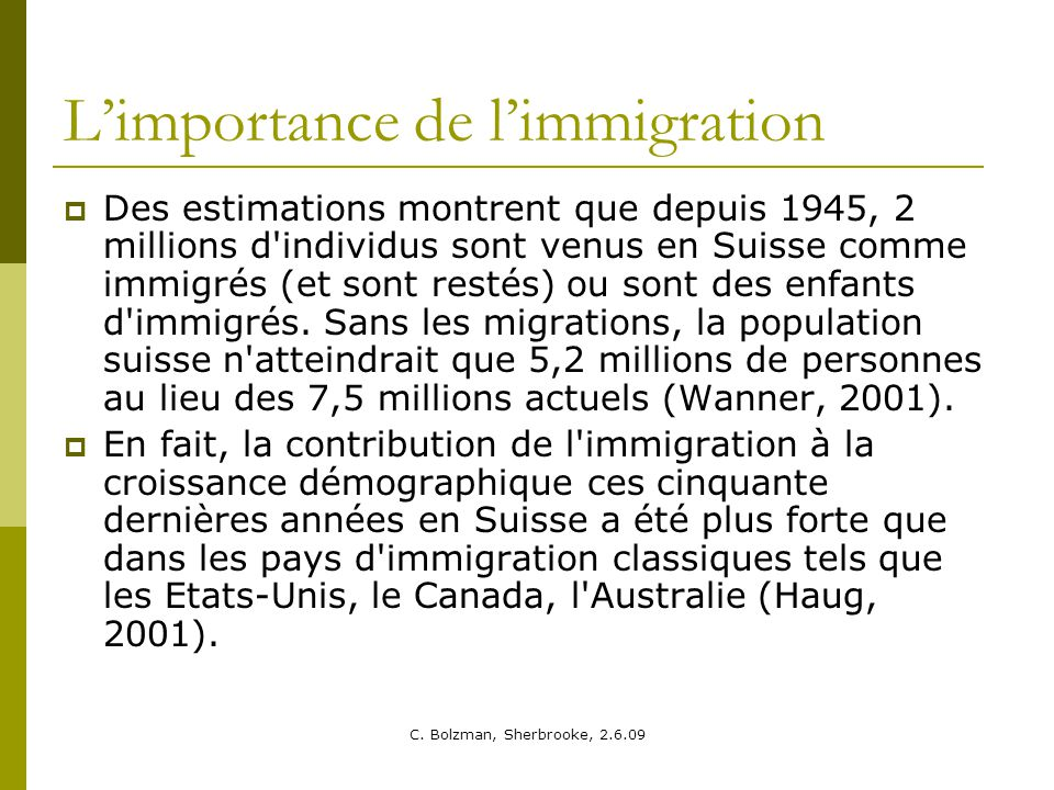 L'importance de l'immigration