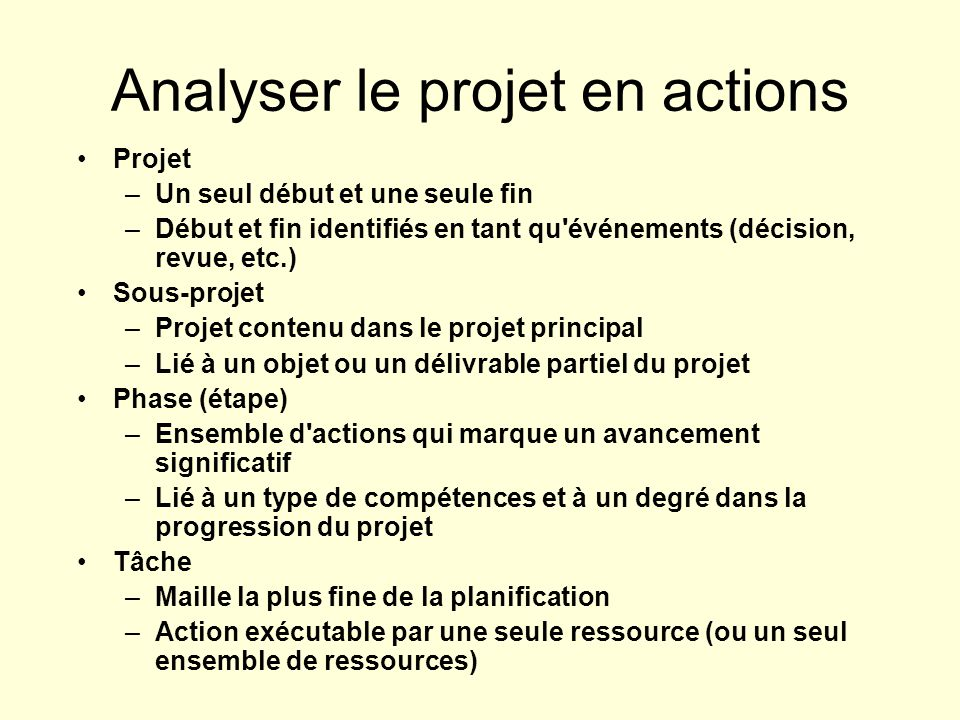 Analyser le projet en actions
