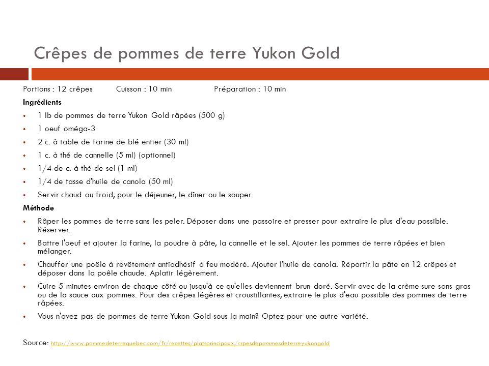 Crêpes de pommes de terre Yukon Gold