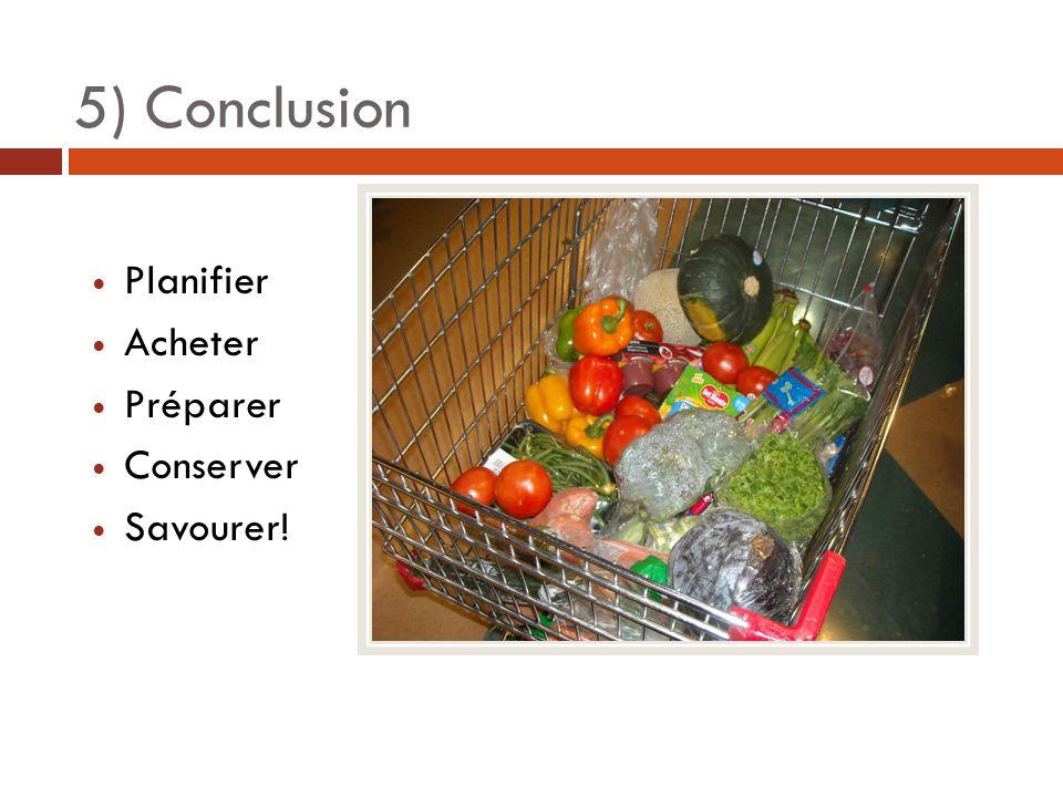 5) Conclusion Planifier Acheter Préparer Conserver Savourer!