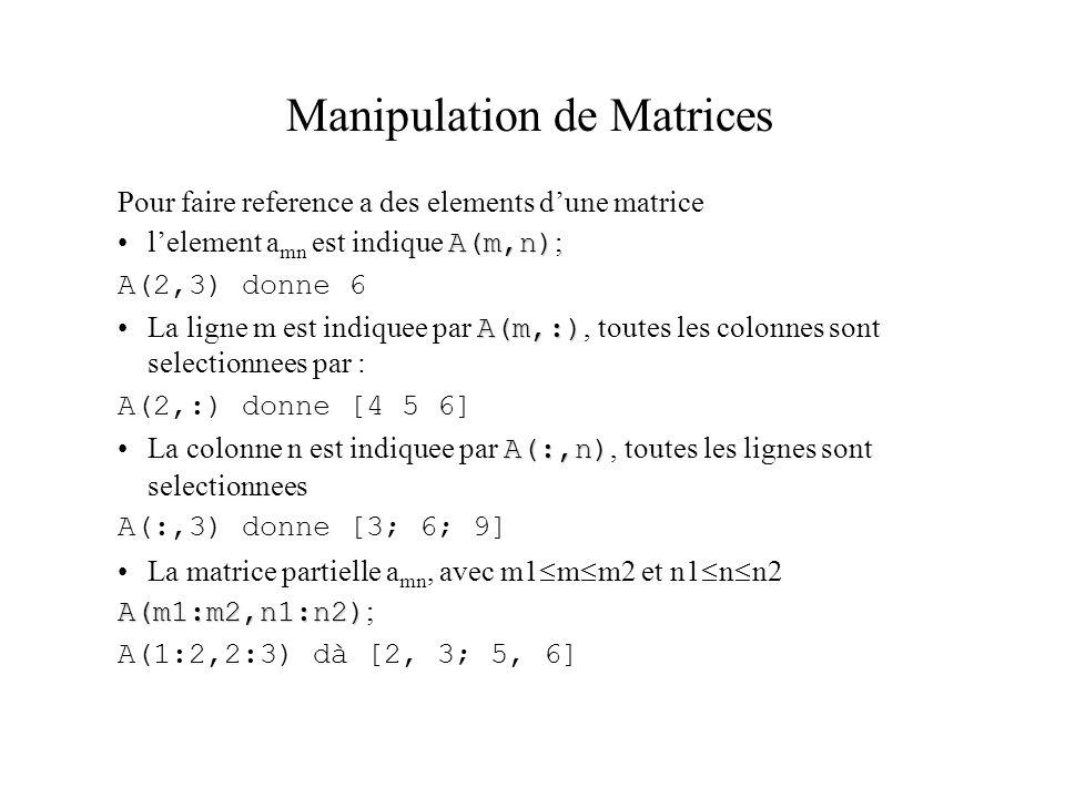 Manipulation de Matrices