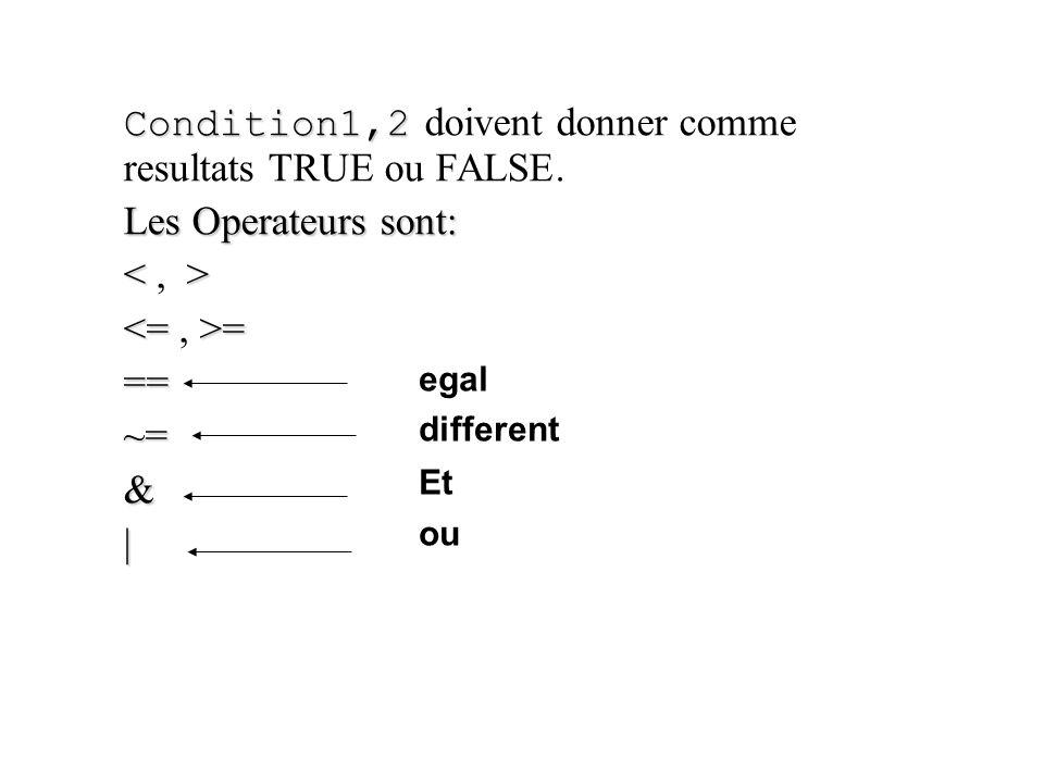 Condition1,2 doivent donner comme resultats TRUE ou FALSE.