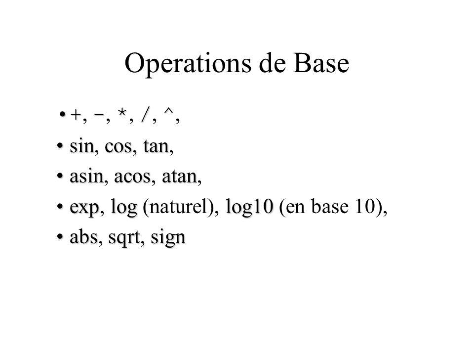 Operations de Base +, -, *, /, ^, sin, cos, tan, asin, acos, atan,