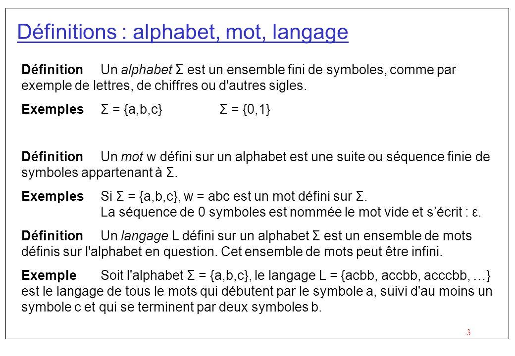 Définitions : alphabet, mot, langage