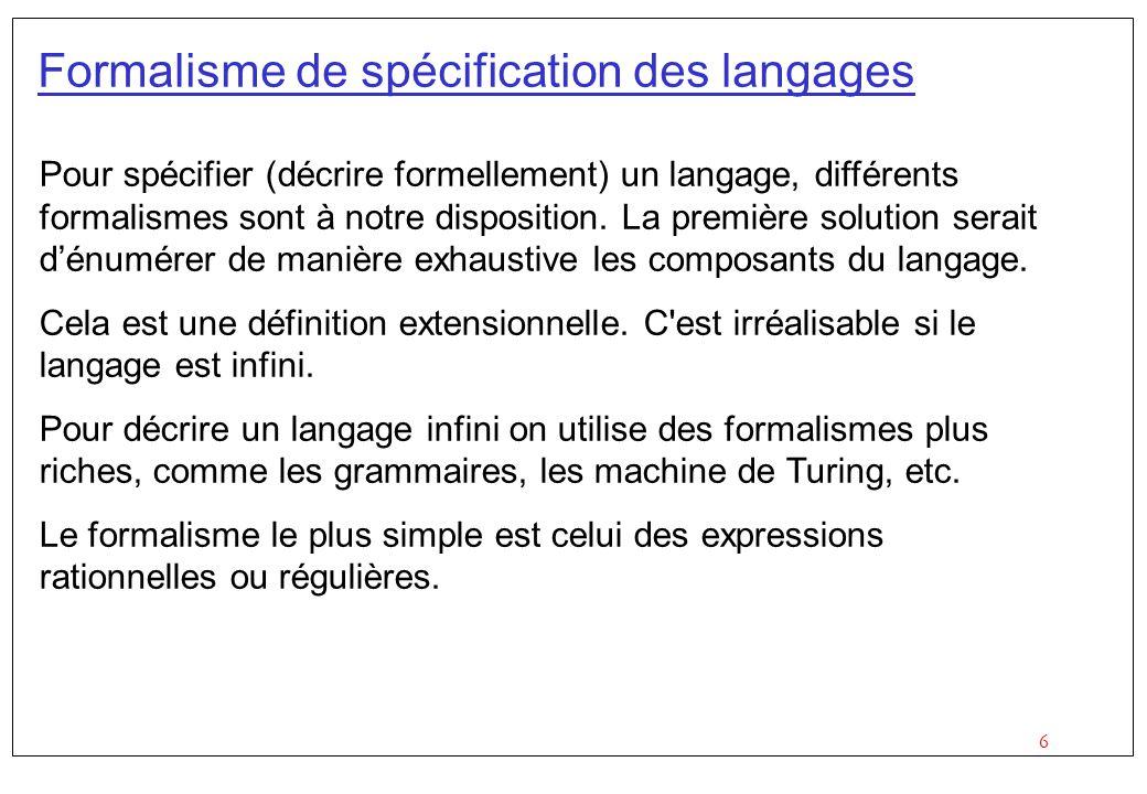 Formalisme de spécification des langages