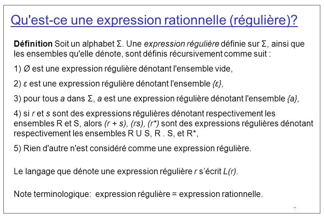 Qu est-ce une expression rationnelle (régulière)