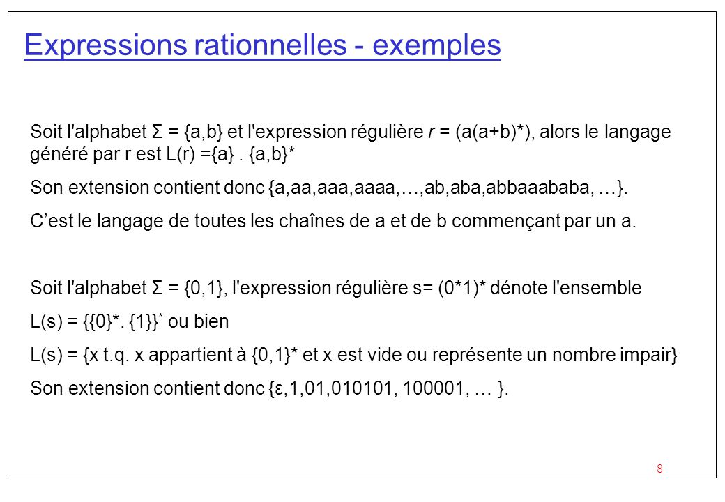 Expressions rationnelles - exemples