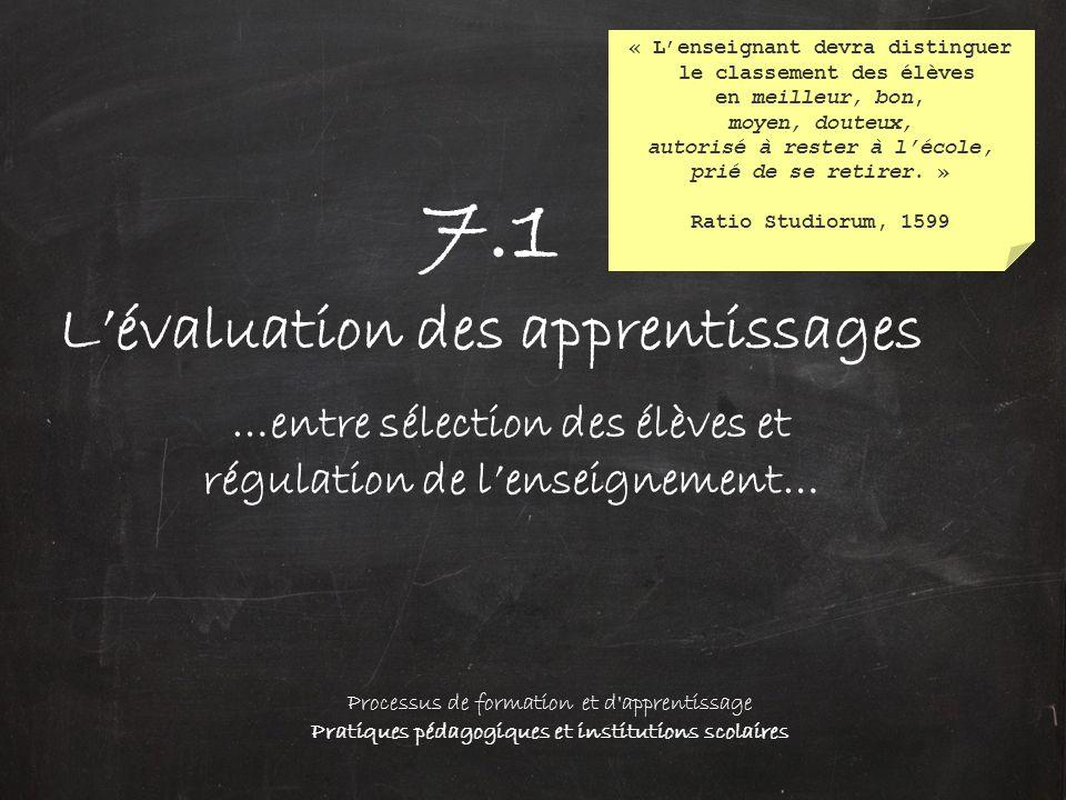 7.1 L'évaluation des apprentissages