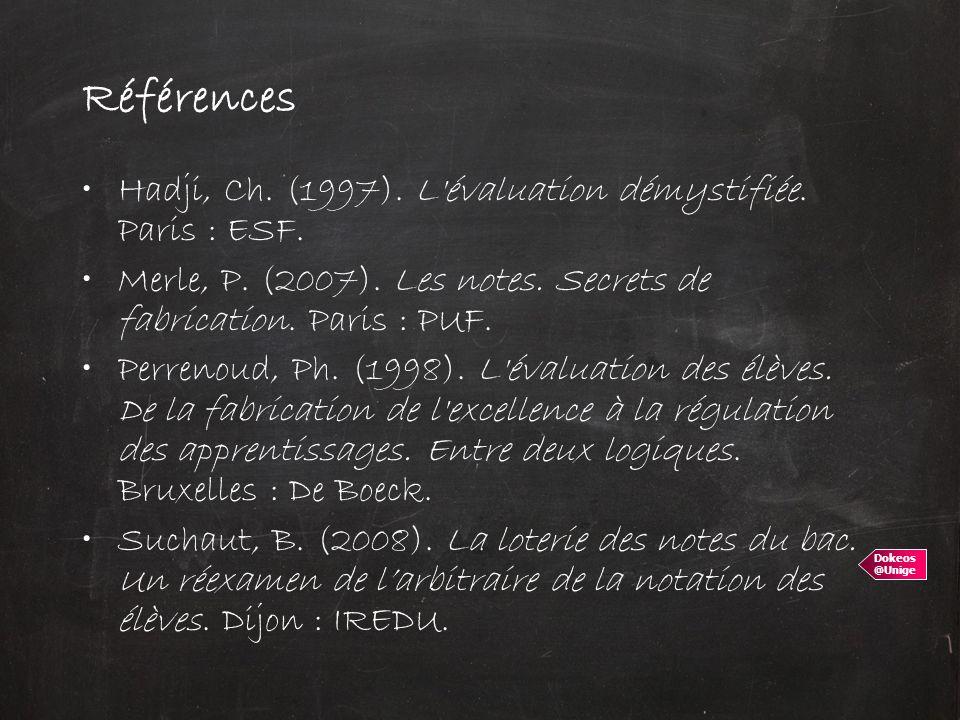 Références Hadji, Ch. (1997). L évaluation démystifiée. Paris : ESF.