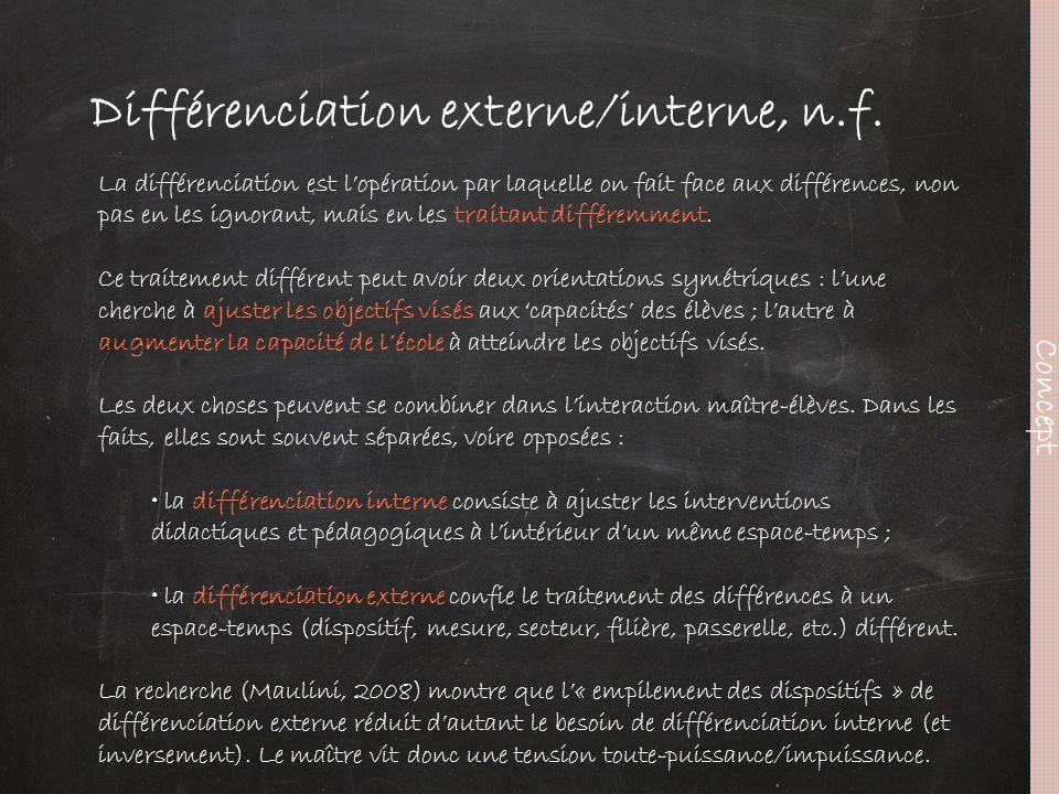 Différenciation externe/interne, n.f.