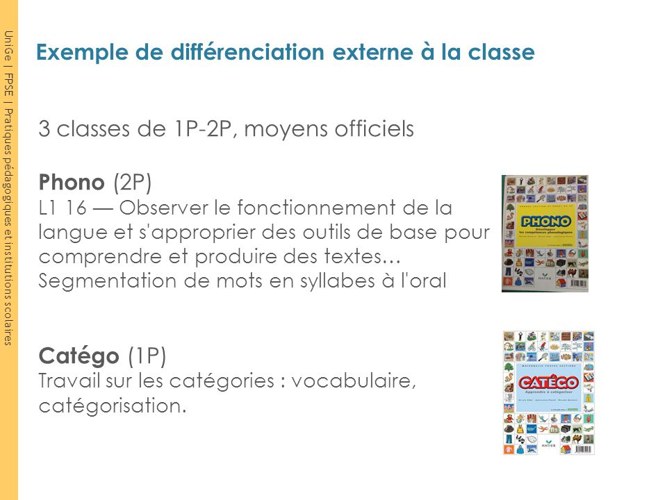 Exemple de différenciation externe à la classe