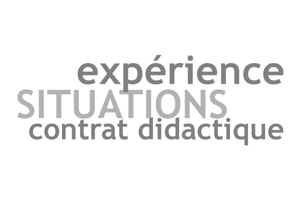 expérience SITUATIONS contrat didactique