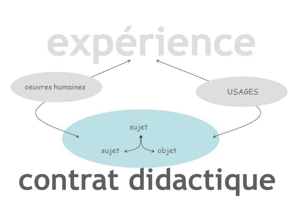 expérience expérience contrat didactique oeuvres humaines USAGES sujet