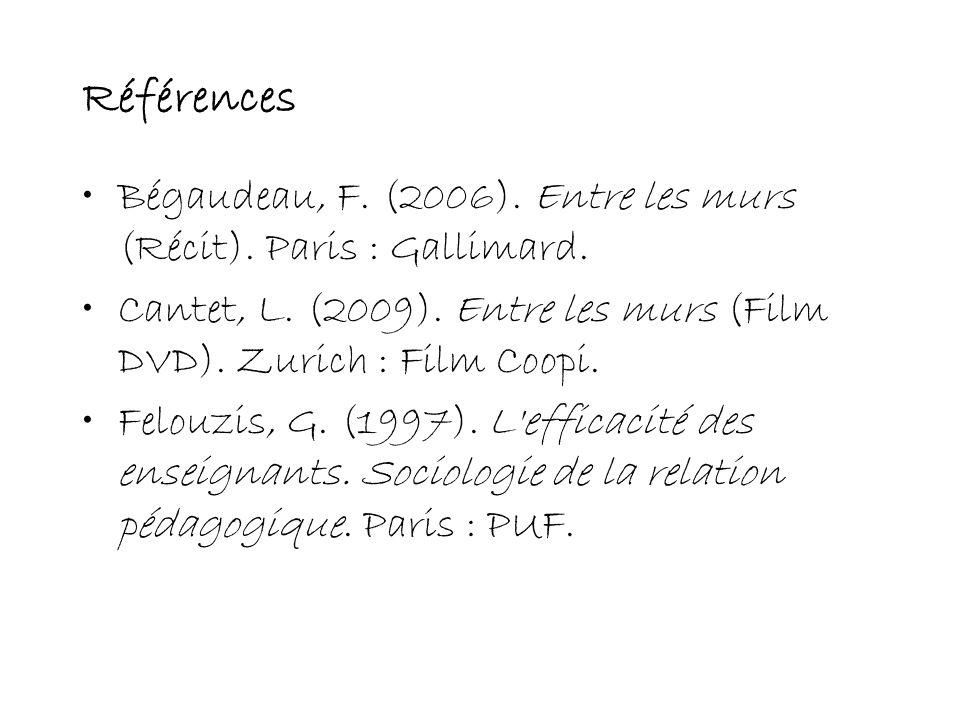 Références Bégaudeau, F. (2006). Entre les murs (Récit). Paris : Gallimard. Cantet, L. (2009). Entre les murs (Film DVD). Zurich : Film Coopi.