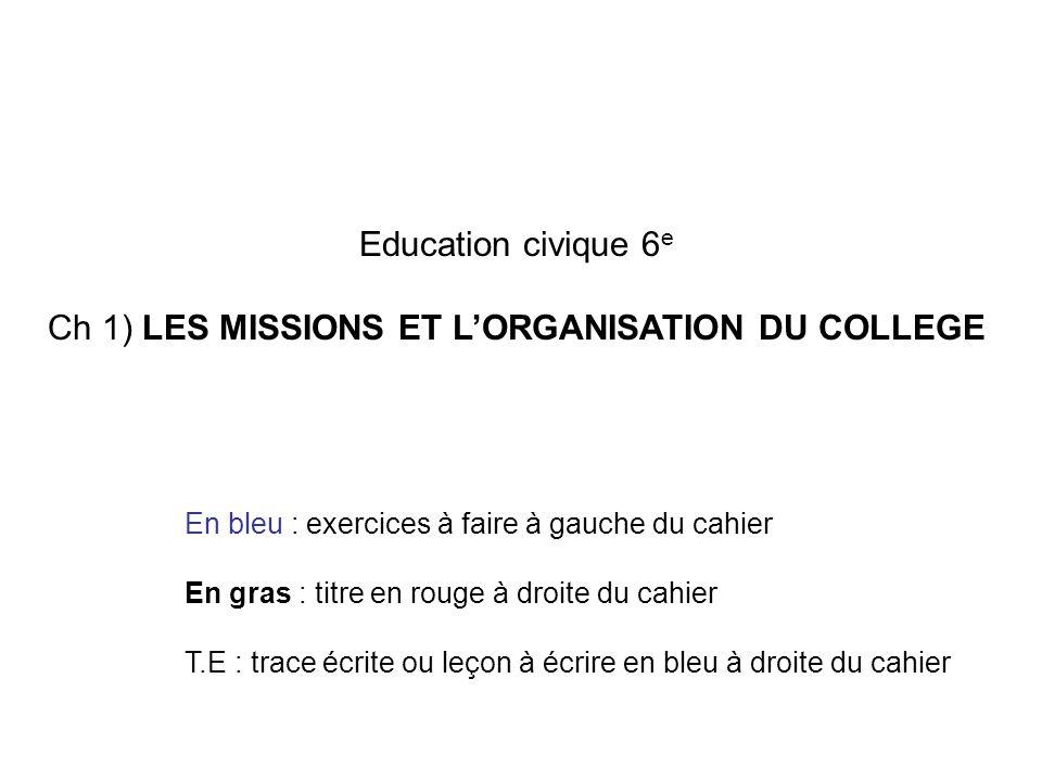 Ch 1) LES MISSIONS ET L'ORGANISATION DU COLLEGE