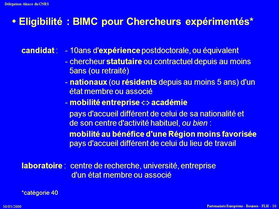 • Eligibilité : BIMC pour Chercheurs expérimentés*