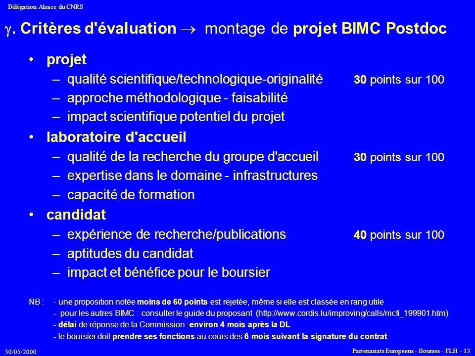 . Critères d évaluation  montage de projet BIMC Postdoc