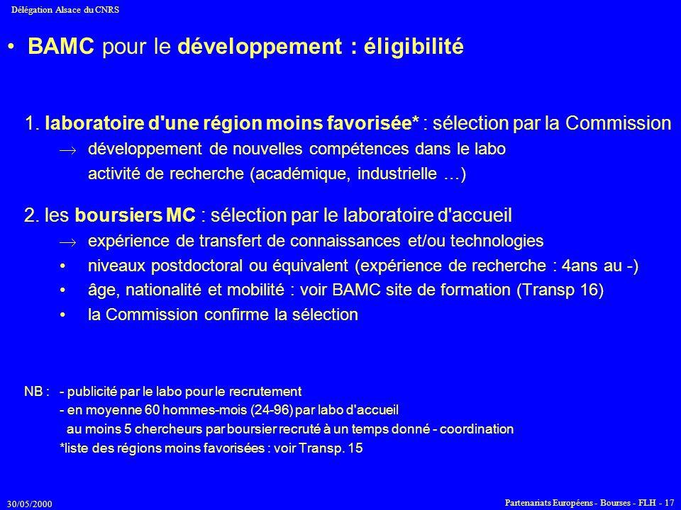 BAMC pour le développement : éligibilité
