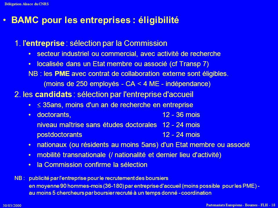 BAMC pour les entreprises : éligibilité