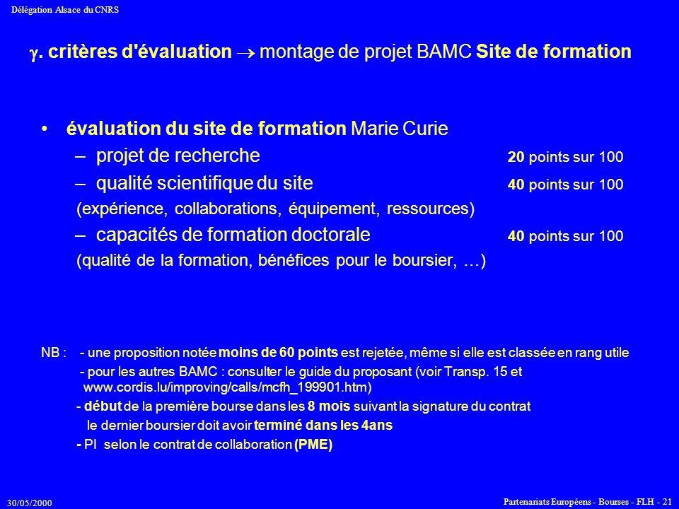 . critères d évaluation  montage de projet BAMC Site de formation