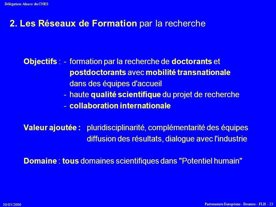 2. Les Réseaux de Formation par la recherche