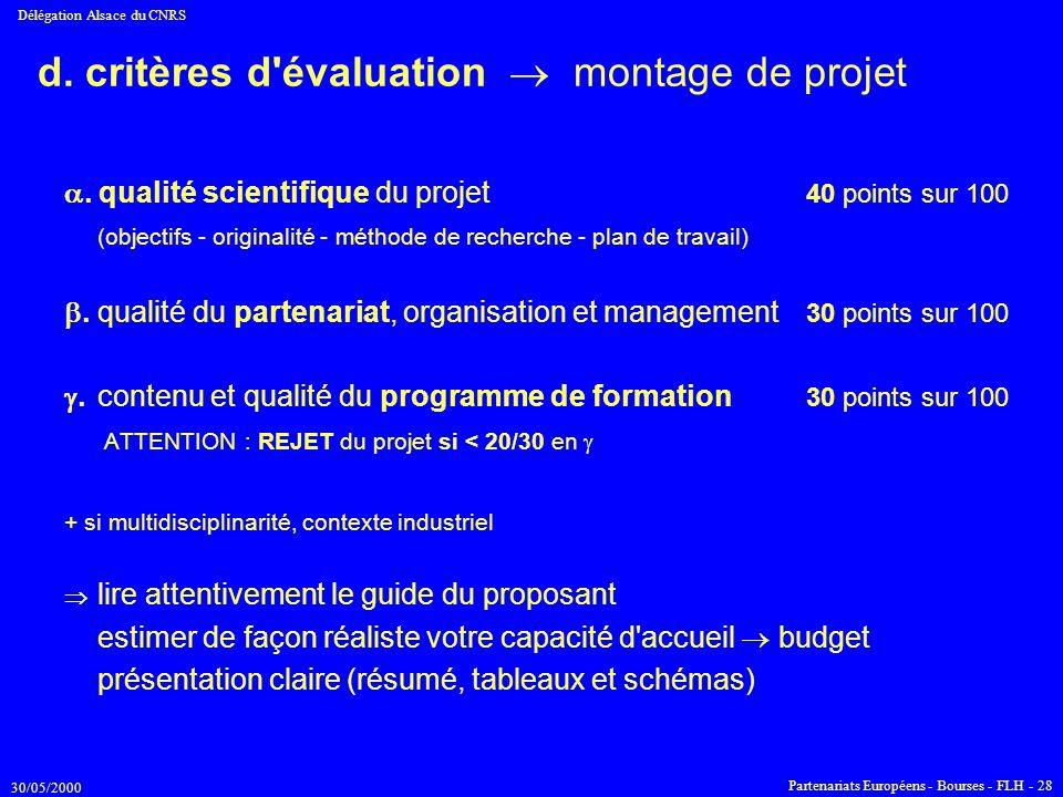 d. critères d évaluation  montage de projet