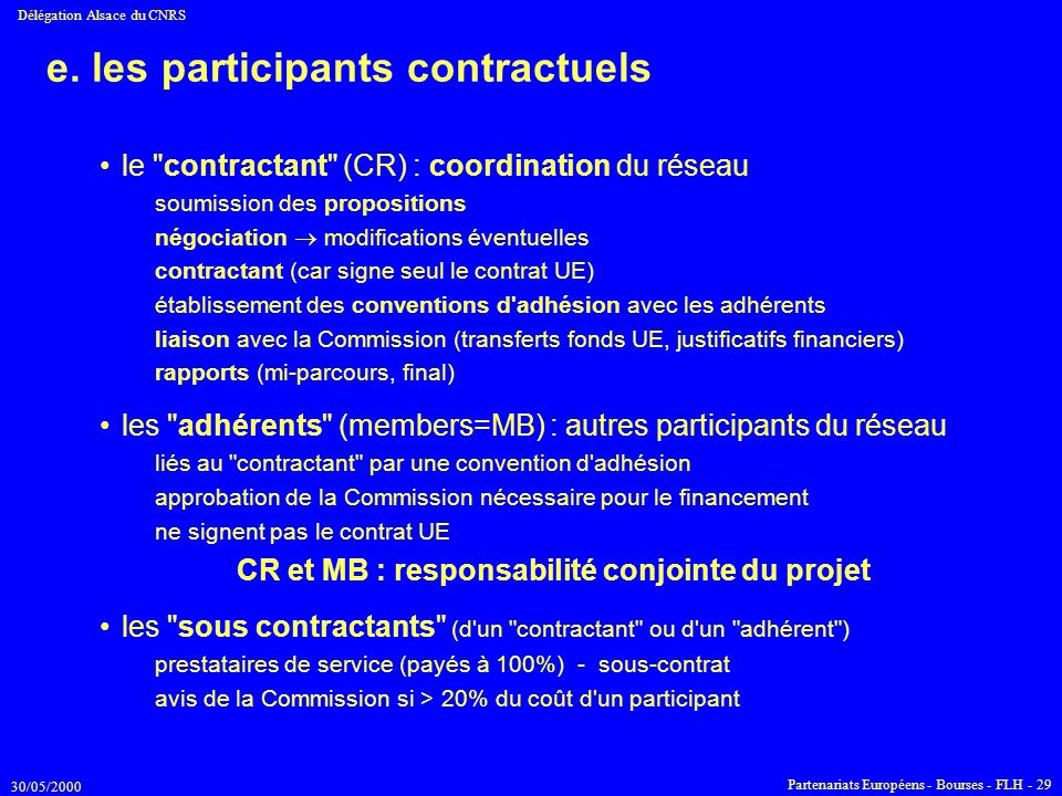e. les participants contractuels