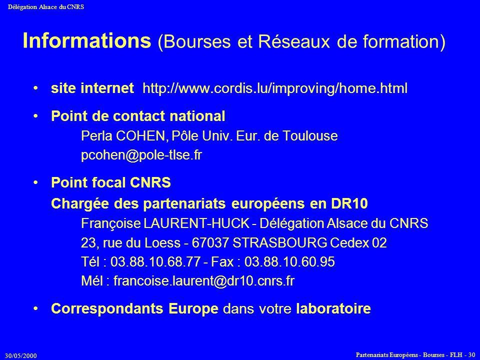 Informations (Bourses et Réseaux de formation)