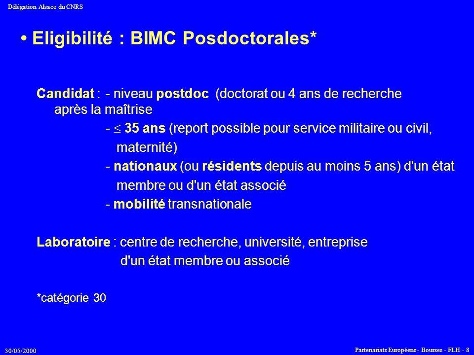 • Eligibilité : BIMC Posdoctorales*