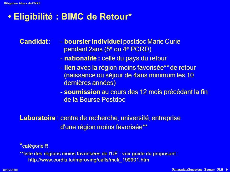 • Eligibilité : BIMC de Retour*