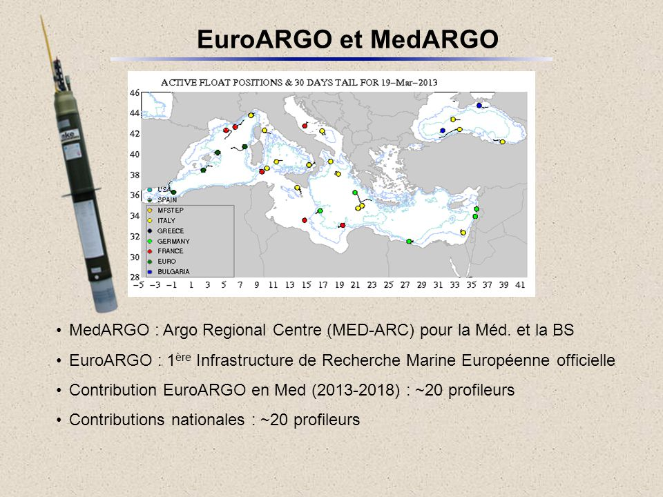 EuroARGO et MedARGO MedARGO : Argo Regional Centre (MED-ARC) pour la Méd. et la BS.