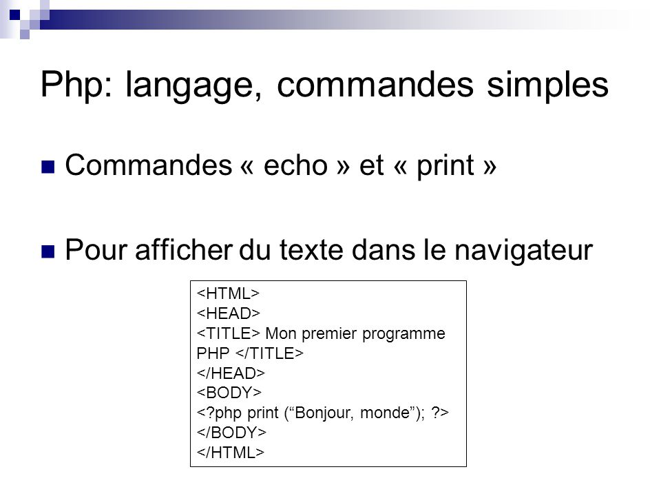 Php: langage, commandes simples
