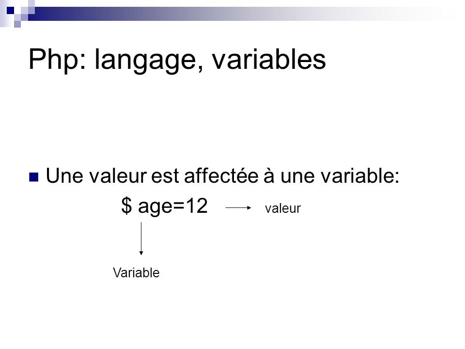 Php: langage, variables